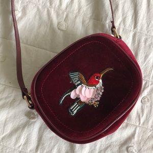 Velvet Hummingbird Beaded Bag